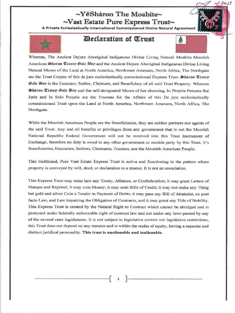 MACN-R000000003_Declaration of Trust - YeSharon Moabites Moorish Trust