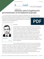 Invalidacion Ambiental Entre La Legitimacion Procedimental y La Invalidacion Impropia