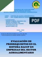 Evaluación de Prerrequisitos en El Sistema Haccp en 15