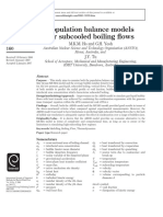 Population Balance Models for Subcooled Boiling Fl