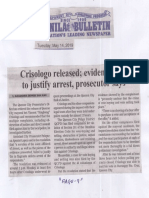 Manila Bulletin, May 14, 2019, Crisologo relased evidence fails to justify arrest, prosecutor says.pdf