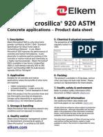Microsilica Grade 920 Construction