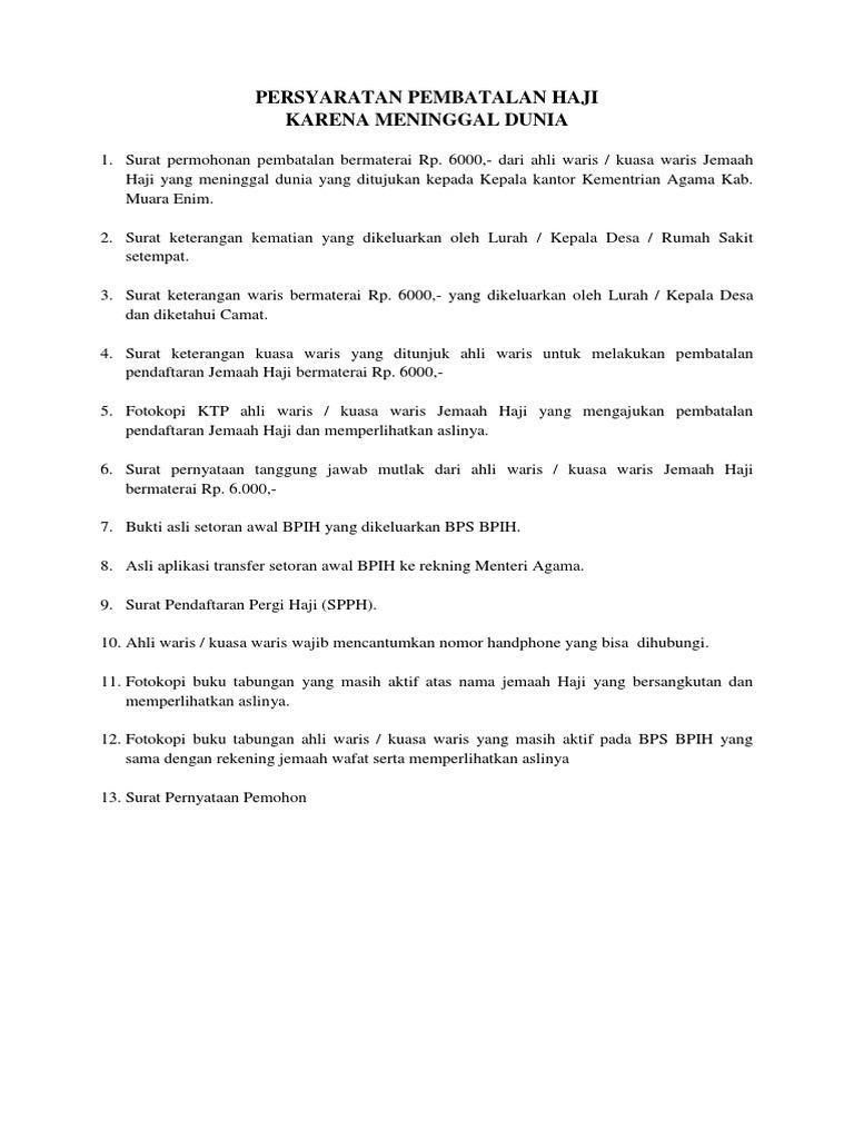 Persyaratan Pembatalan Haji Pdf