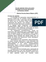 Artigo Profª Patrícia Ribeiro - No Meio Do Caminho Tinha Uma Pedra - A Versatilidade Da Fórmula Discursiva Na Literatura Infantil