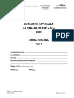 Evaluarea Nationala clasa a IV- 2019 Limba Romana Test 1