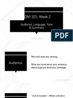 Week 2 - Audience, Language, Tone & Summary notes