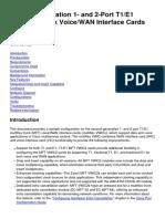 Second-Generation 1- And 2-Port T1E1 Multiflex Trunk VoiceWAN Interface Cards