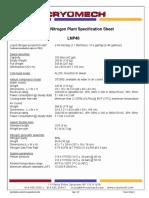 Liquid Nitrogen Plant Specification Sheet