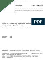 NCh 174 Of85 Maderas-Unidades Empleadas, Dimensiones Nominal