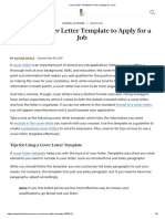 Cover Letter Template to Use to Apply for a Job
