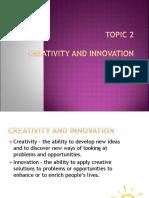 Topic 2 Entrepreneurship Creativity and Innovation