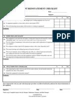 Equipment Reinstatement Checklist