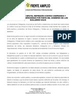 Frente Amplio (Costa Rica) Denuncia La Brutal Represión Contra Campesinos Por Parte Del Gobierno de Luis Guillermo Solís 18-02-2016
