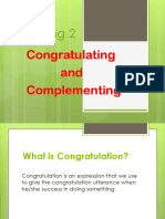congratulating and complementing