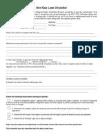 Unit Gas Leak Checklist