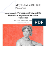 Jane Austen Persuasion Irony and the Mysterious Vagaries of Narratives