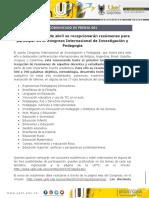 COMUNICADO 61 2019 Congreso Internacional Pedagogia UPTC
