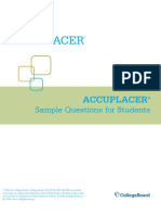 Accuplacer Sample Questions for Students