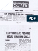 Philippine Daliy Inquirer, Party List elections Pro-DU30 Groups in Winning Circle.pdf