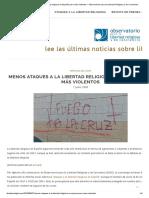 Menos Ataques a La Libertad Religiosa en España Pero Más Violentos – Observatorio Para La Libertad Religiosa y de Conciencia