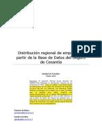 Boletín Distribución Regional de Empresas a Partir de La Base de Datos Del Seguro de Cesantía