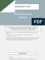 The Effectiveness of School
