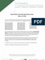 Bloomfield Township Boil Water Alert