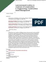 Construction Procurement Routes