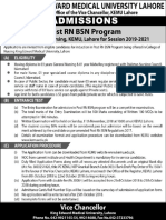 Admission Notice for Post RNBSN