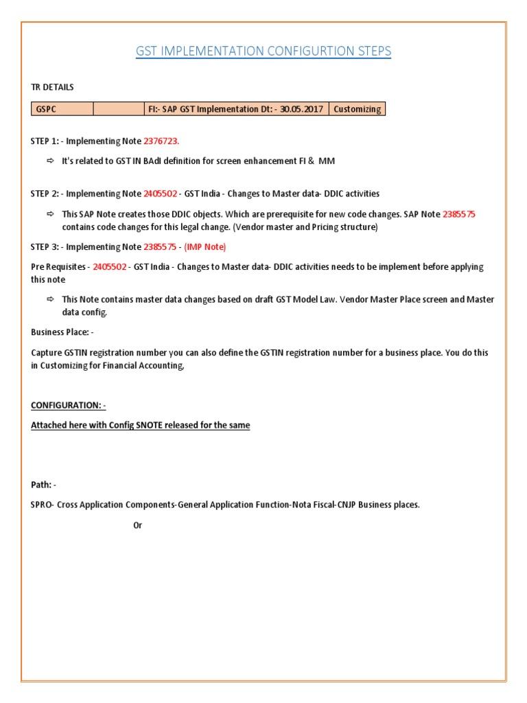 FICO - GST Configuration Document docx | Pajak