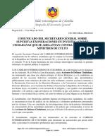 Comunicado del Secretario General sobre supuestas Exoneraciones a Falsos Ministros de Culto