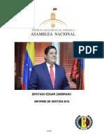 Diputado Edgar Zambrano Informe de Gestion Del 2016