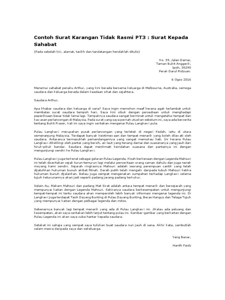 Contoh Surat Karangan Tidak Rasmi Docx