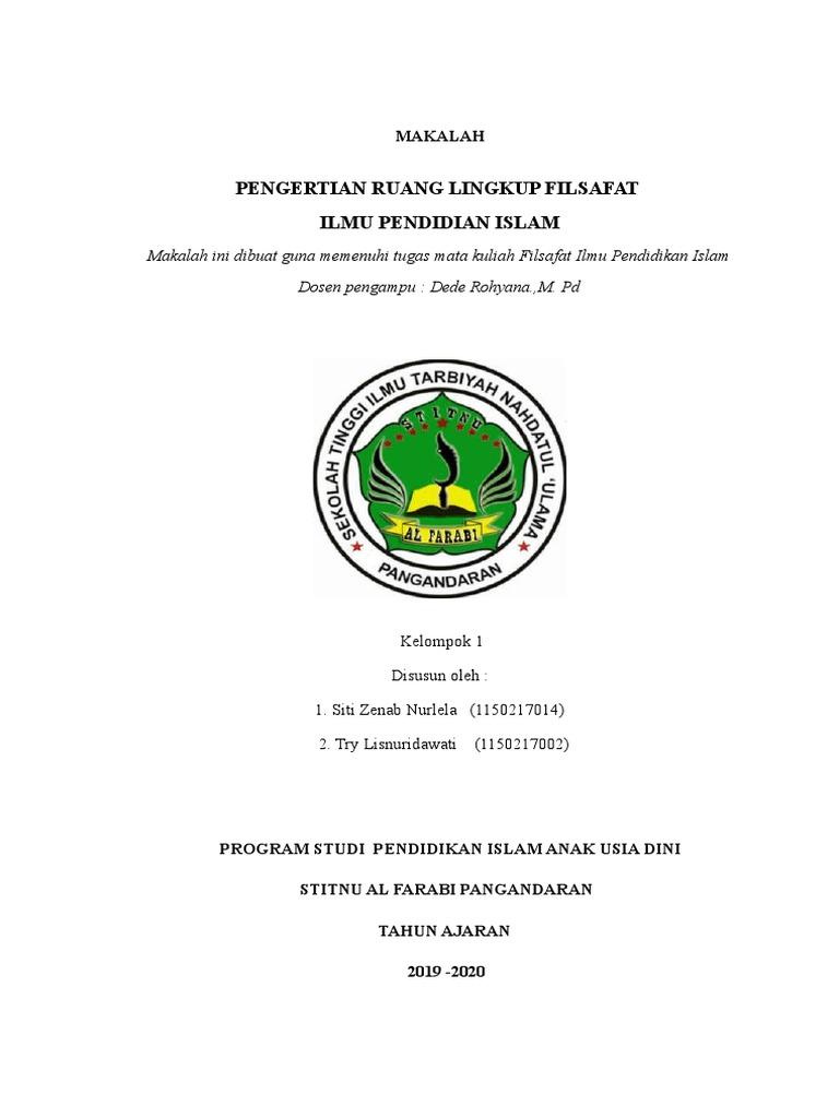 Makalah Pengertian Ruang Lingkup Filsafat Ilmu Pendidikan Islam