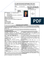 SHUATS - Entrance Test Admit Card 2019_23740
