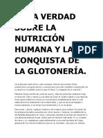 Ehret La Verdad Sobre La Nutrición Humana y La Conquista de La Glotonería