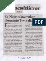 Business Mirror, May 16, 2019, Ex-Negros lawmaker Hermino Teves dies at 99.pdf