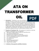Data for oil used in transformer