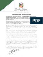 Mensaje del presidente Danilo Medina con motivo del Día Mundial de las Telecomunicaciones 2019