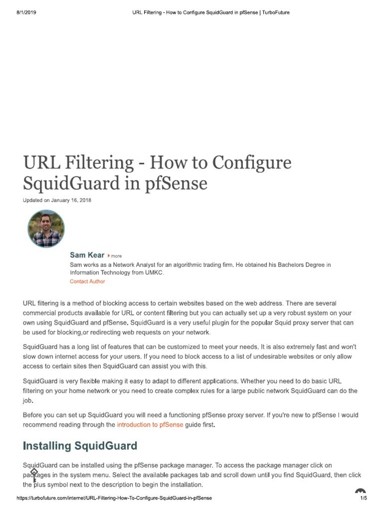 Url Filtering With Squidguard