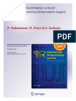 Laparoscopic Hysteropexy a Novel Technique for Uterine Preservation