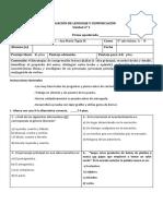 Evaluación de Lenguaje Unidad 1 Quinto