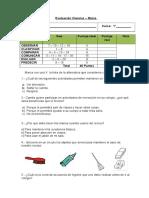 Evaluación 1°básico ciencias Marzo 2014