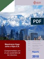 Reporte Sustentabilidad Maestranza Jofré 2018. medio ambiente