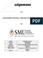 Management Process & Organizational Behavior
