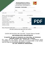 Ficha de Inscripción 2018