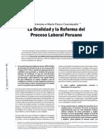 La Oralidad y la Reforma del Proceso Laboral Peruano