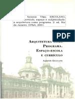ARQUITETURA COMO PROGRAMA. Currículo, espaço e subjetividade. FRAGO, Antonio. ESCOLANO, Austín. 2001..pdf