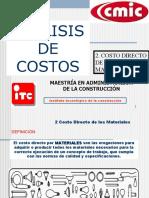 COSTO DIRECTO DE MATERIALES