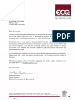 Andrew Laming letter from ECQ